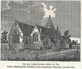 The old Parish Church, Flint, in 1800