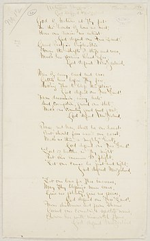 Original manuscript of words for God Defend New Zealand, handwritten in ink on paper