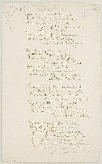 God Defend New Zealand - Image: The original manuscript of words for God Defend New Zealand by Thomas Bracken