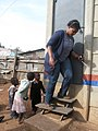 The stairs of a urine-diverting dry toilet (UDDT) in low-income area Bulbul near Nairobi, Kenya (10543139614).jpg