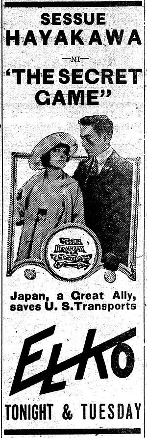 The Secret Game (1917 film) - Newspaper advertisement.
