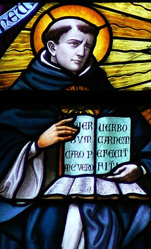 Thomas Aquinas stained glass window.