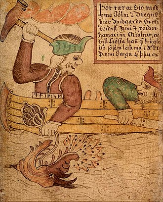 Húsdrápa - Thor goes fishing for Jörmungandr in this picture from an 18th-century Icelandic manuscript.