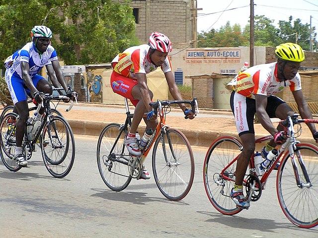 A photograph from the 2009 Ouagadougou bike race in Burkina Faso.