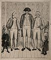 Three giants, the tallest identified as Charles Byrne and th Wellcome V0007348.jpg