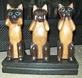 Three wise cat figurines.JPG