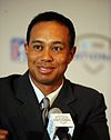 Tiger Woods speaking to the media at a press conference in 2009