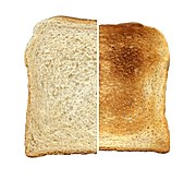A slice of bread, contrasting untoasted and toasted
