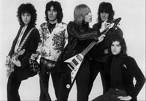 Tom Petty and the Heartbreakers - The band in 1977. From left: Mike Campbell, Ron Blair, Tom Petty, Stan Lynch, and Benmont Tench