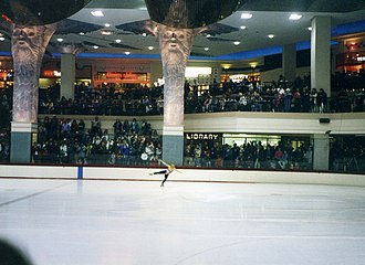 Clackamas Town Center - Tonya Harding skating in the mall Ice Chalet, 1994; the ice rink was removed in late 2007 during renovations