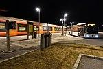 Torp train station, NSB shuttle bus to Sandefjord Lufthavn airport. Platform, train, night. 2019-03-20 C.jpg