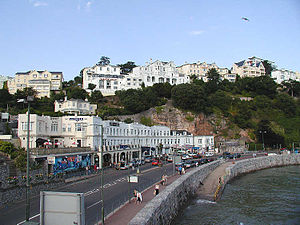Devon - Part of the seafront of Torquay, south Devon, at high tide.