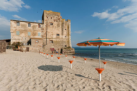 Torre Mozza, XVI Century coast tower in Tuscany (Italy), sited in Follonica gulf in front of Elba island.