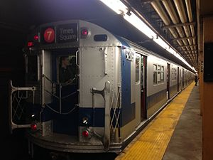 "Vernon Boulevard–Jackson Avenue (IRT Flushing Line) - The ""Train of Many Colors"" at Vernon Boulevard-Jackson Avenue in 2016."