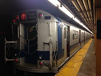 Vernon Boulevard–Jackson Avenue (IRT Flushing Line) - The Train of Many Colors at Vernon Boulevard-Jackson Avenue in 2016.