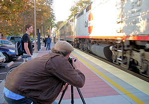 Railfan - Railfan photographing a Caltrain service in the United States
