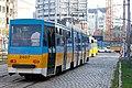 Tram in Sofia near Russian monument 012.jpg