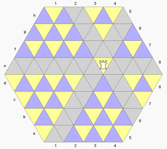 Triangular Chess - The rook moves along cells in the diagram colored light gray.