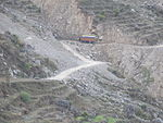Trisuli Rajmarg: Truck working its way up past a landslide near Thulogaon