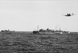 Axis naval activity in Australian waters - A troop convoy escorted by a RAAF Lockheed Hudson aircraft