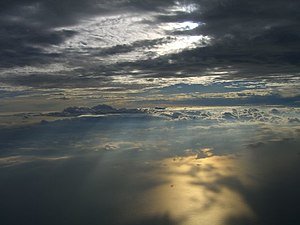 Troposphere - A view of Earth's troposphere from an airplane.