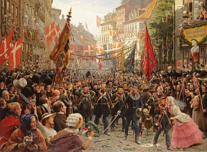 Royal Danish Army - Danish military veterans are welcomed home and greeted as victors in the streets of Copenhagen, upon return from the First Schleswig War, 1849. The banner reads 'Thank you, you who fell, and you who survived'