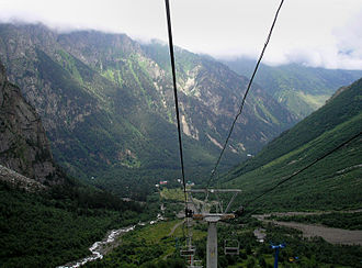 North Ossetia-Alania - Cableway in Tsey canyon