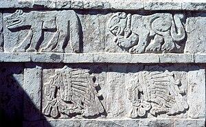Toltec - Stucco relief at Tula, Hidalgo depicting Coyotes, Jaguars and Eagles feasting on human hearts.