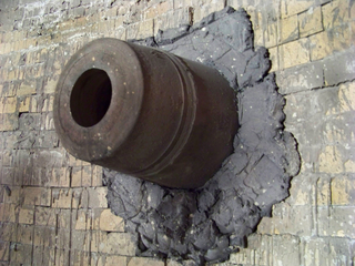 Tuyere nozzle through which air is forced into a forge or blast furnace