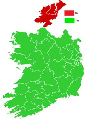 Twenty-eighth Amendment of the Constitution of Ireland - Image: Twenty eighth Amendment of the Constitution of Ireland Bill, 2009 map (results by constituency)