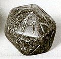 Twenty-sided die (icosahedron) with faces inscribed with Greek letters MET 10-130-1157.jpg