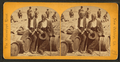 Two African American men sitting on barrels on the levee, from Robert N. Dennis collection of stereoscopic views.png