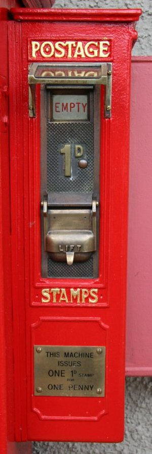 Stamp vending machines in the United Kingdom - An early Type A mechanism on display at the Inkpen Post Box Museum Taunton, Somerset