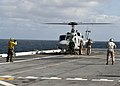 U.S. Sailors aboard amphibious transport dock ship USS New York (LPD 21) prepare to launch a UH-1N Huey helicopter during flight operations during African Lion 2012 in the Atlantic Ocean April 14, 2012 120414-N-XK513-030.jpg