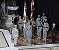 U.S. Vice President Joe Biden, in suit at left, and Secretary of Defense Robert M. Gates, in suit at right, watch as command of remaining forces in Iraq is transferred from Army Gen. Ray Odierno to recently 100901-F-DQ383-033.jpg