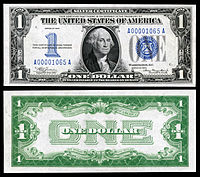 Certificado de prata de $ 1, série 1934, Fr.1606, representando George Washington