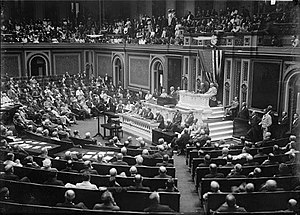 President Wilson before Congress, announcing the break in official relations with Germany. February 3, 1917.