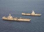 USS Dwight D. Eisenhower (CVN-69) and Charles de Gaulle (R91) underway in the Mediterranean Sea on 6 December 2016.JPG