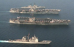 Forrestal-class aircraft carrier - Image: USS John F Kennedy (CV 67) and USS Saratoga (CV 60) underway crop