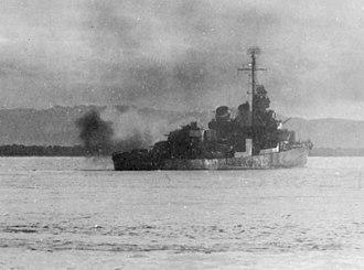USS La Vallette (DD-448) - La Vallette shelling Mindoro in December 1944.