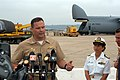 US Navy 030805-N-6633C-001 Deep Submergence Unit (DSU) Commanding Officer, Cmdr. Kent Van Horn, speaks with local and national media representatives.jpg