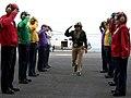 US Navy 050516-N-7130B-071 Commander, U.S. Pacific Fleet, Adm. Walter F. Doran receives official honors from rainbow sideboys as he arrives aboard the Nimitz-class aircraft carrier USS Ronald Reagan (CVN 76).jpg