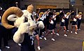US Navy 051130-N-9693M-001 The U.S. Naval Academy mascot Bill the Goat and the cheerleader squad performs a cheer in the Pentagon courtyard during a Pep-Rally.jpg
