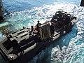 US Navy 061023-N-7763T-045 A Lighter Amphibious Resupply Cargo Vehicle (LARC-V) exits the well deck of amphibious transport dock ship USS Juneau (LPD 10) during amphibious operations.jpg