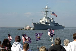 Battle ensign - USS ''McFaul'' flying her battle ensign as she returns to Naval Station Norfolk, Virginia from deployment.