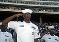 US Navy 070929-N-5208T-008 Sailors assigned to Navy Recruiting District Dallas salute during the national anthem at the Cotton Bowl for the Texas State Fair Football Classic. This event was held in conjunction with Dallas Navy.jpg