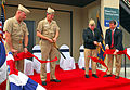 US Navy 081009-N-7643B-020 Vice Adm. Robert T. Conway Jr., commander, Navy Installations Command, right, and Rear Adm. Leendert R. Hering Sr., commander, Navy Region Southwest, cut a ribbon at the unveiling of the Shore Force T.jpg