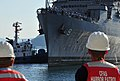 US Navy 081202-N-0807W-119 Sailors man the rails as the Austin-class amphibious transport dock ship USS Denver (LPD 9) returns to Fleet Activities Sasebo.jpg