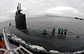 US Navy 091125-N-7705S-020 ailors aboard the Los Angeles-class attack submarine USS Montpelier (SSN 765) prepare deck rigging before receiving lines from a tugboat while en route to Naval Station Norfolk.jpg