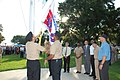 US Navy 100818-N-3436L-002 Sailors raise the new Occupational Safety and Health Administration (OSHA) flag for achieving OSHA's Voluntary Protection Program.jpg
